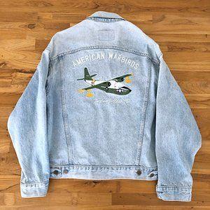AMERICAN WARBIRDS Men's Navy Collared Jean Jacket